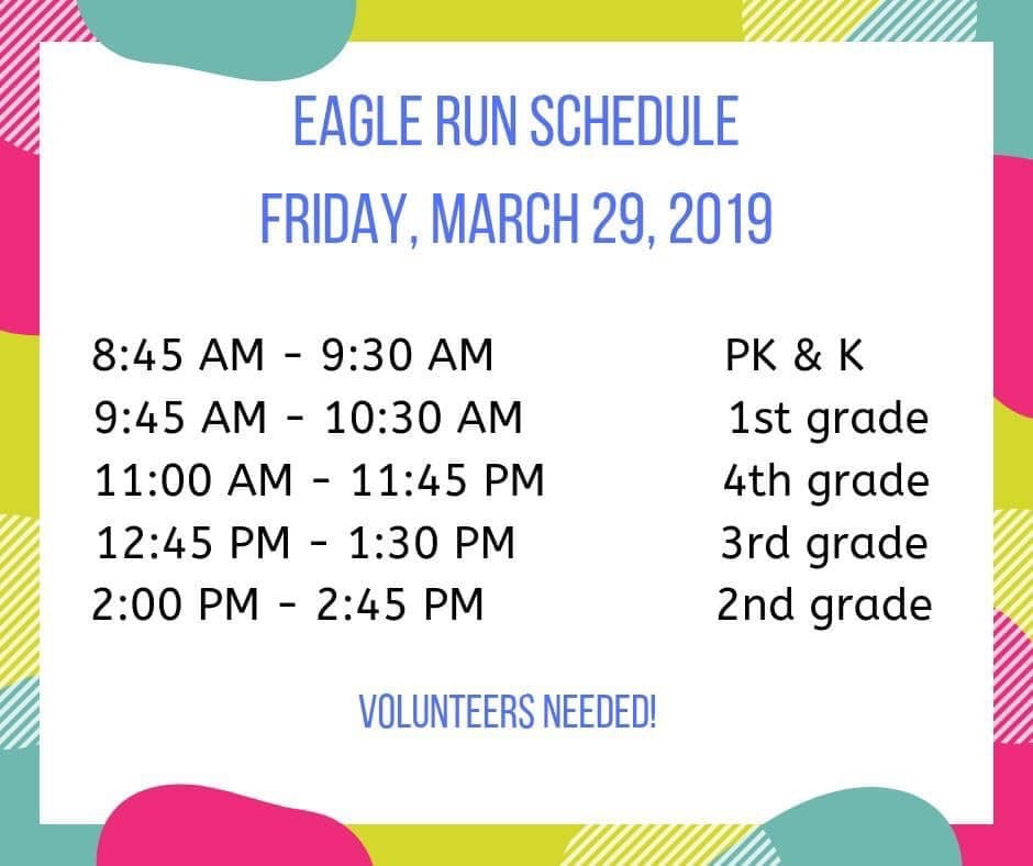 Woodvale Elementary PTC FunRun2019 Eagle Run Volunteers